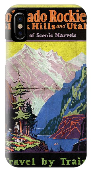Travel By Train To Colorado Rockies - Vintage Poster Folded IPhone Case