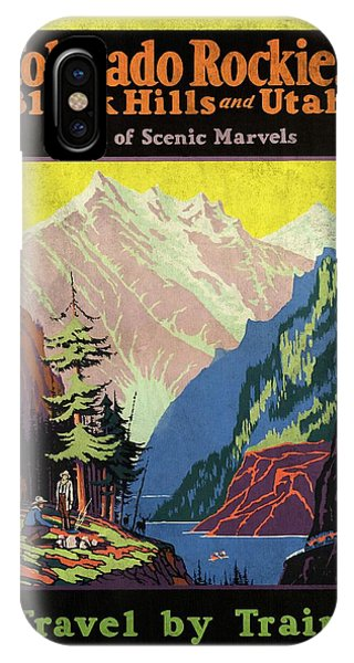 Travel By Train To Colorado Rockies - Vintage Poster Vintagelized IPhone Case
