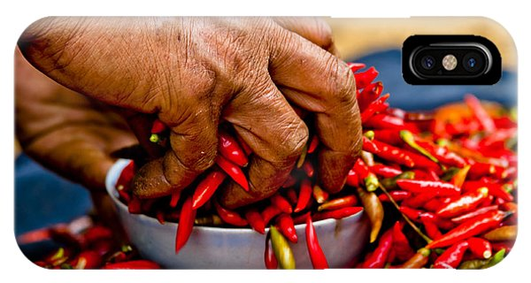 Woman Holding Red Chillies, Can Cau Market, Sapa,vietnam IPhone Case