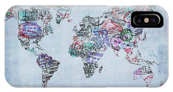 Traveler World Map Blue 8x10 IPhone Case