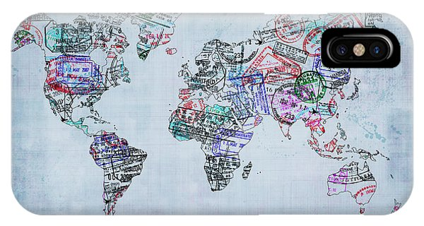 Departure iPhone Case - Traveler World Map Blue 8x10 by Delphimages Photo Creations
