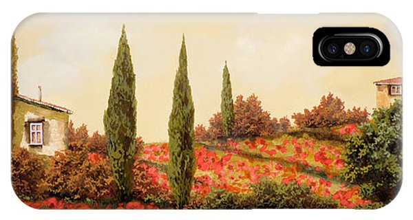 IPhone Case featuring the painting Tre Case Tra I Papaveri by Guido Borelli