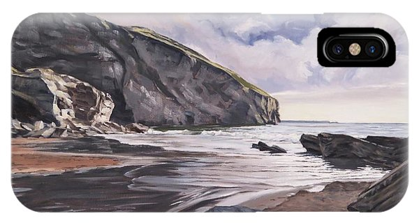IPhone Case featuring the painting Trebarwith Strand by Lawrence Dyer