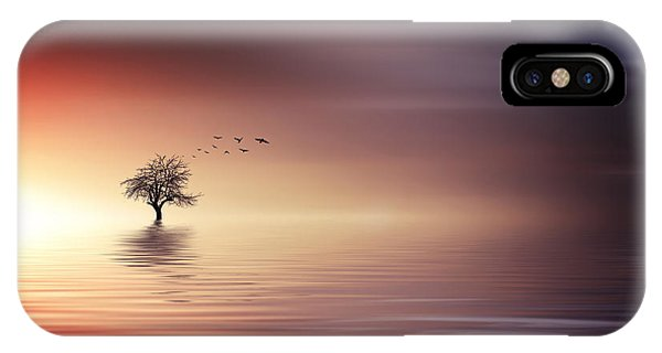 Tree And Birds On Lake Sunset IPhone Case