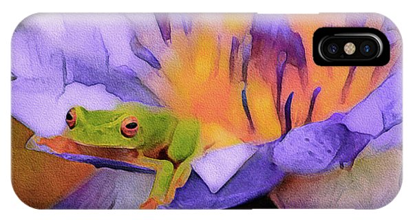 IPhone Case featuring the mixed media Tree Frog In Repose by Susan Maxwell Schmidt