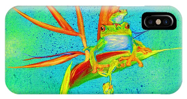 Tree Frog On Birds Of Paradise Square IPhone Case