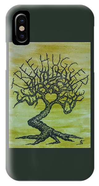 IPhone Case featuring the drawing Tree Hugger Love Tree by Aaron Bombalicki