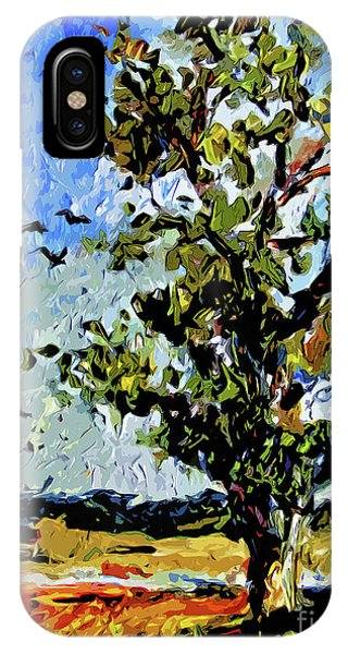 Tree In Summer Sun Mixed Media IPhone Case