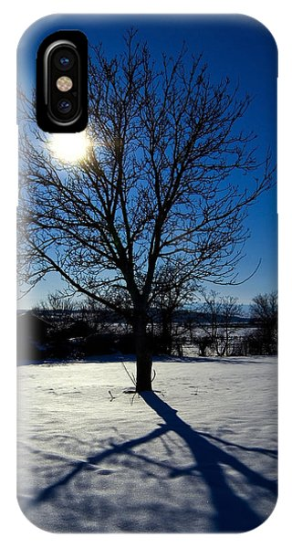 Tree Into Sun On A Winter Snowy Afternoon IPhone Case