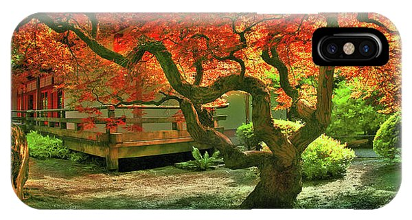 Tree, Japanese Garden IPhone Case