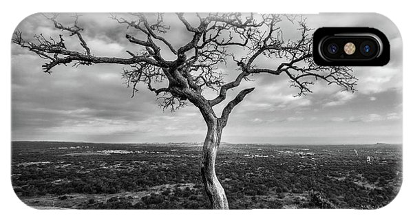 Tree On Enchanted Rock In Black And White IPhone Case