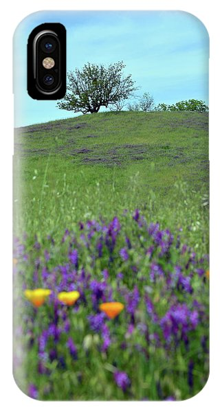 iPhone Case - Tree On Hill With Wildflowers by Kathy Yates