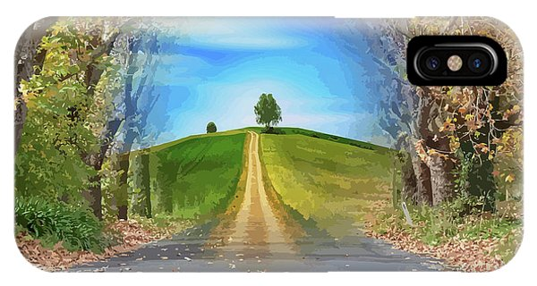 Tree On The Hill Montage IPhone Case