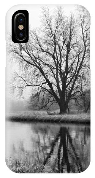 Tree Reflection In The Fox River On A Foggy Day IPhone Case