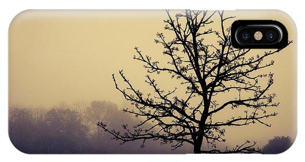 Morning Mist iPhone Case - Tree Silhouette On A Foggy Morn by Tom Mc Nemar
