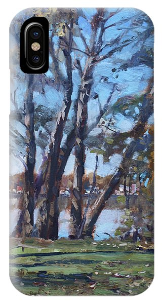 Great Lakes iPhone Case - Trees By The River by Ylli Haruni