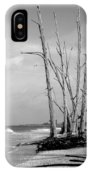 Trees On The Beach Black And White Phone Case by Rosalie Scanlon