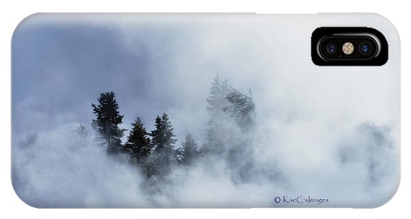 Trees Through Firehole River Mist IPhone Case