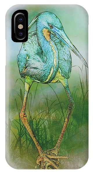 Tri-colored Heron Balancing Act - Colorized IPhone Case