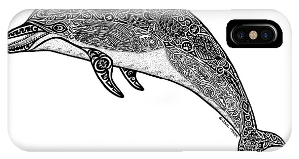 Dolphin iPhone Case - Tribal Dolphin by Carol Lynne