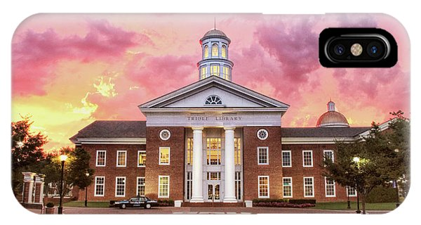 IPhone Case featuring the photograph Trible Library Under A Crayola Sky Christopher Newport University  by Ola Allen