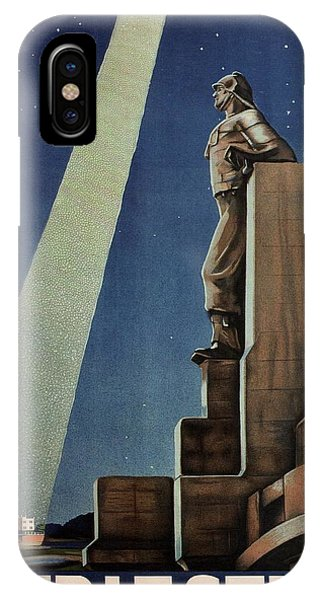Lighthouse Wall Decor iPhone Case - Trieste, Italy - View Of The Statue Of A Man - Retro Travel Poster - Vintage Poster by Studio Grafiikka