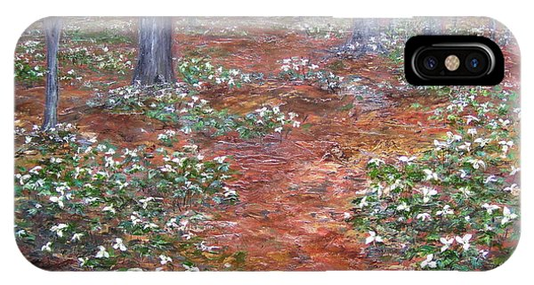 IPhone Case featuring the painting Trilliums After The Rain by Jan Byington