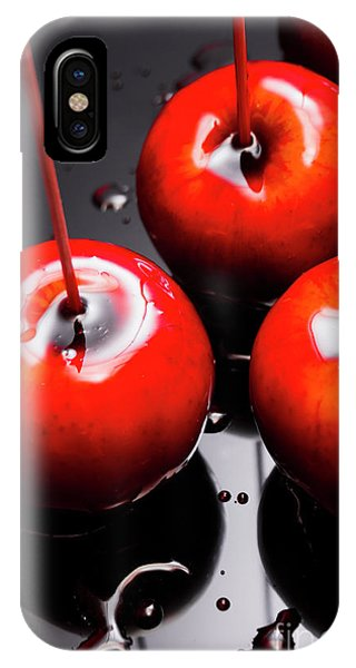 Coat iPhone Case - Trio Of Bright Red Home Made Candy Apples by Jorgo Photography - Wall Art Gallery