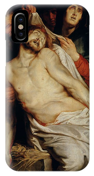 Shrouds iPhone Case - Triptych Of Christ On The Straw by Rubens