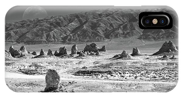 Trona Pinnacles With The Moon IPhone Case