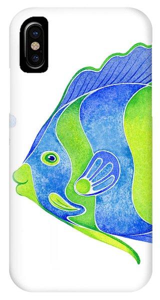 Fish iPhone Case - Tropical Blue Angel Fish by Laura Nikiel