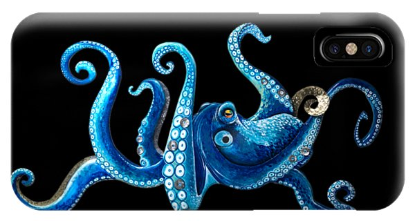 Tiki Bar iPhone Case - Tropical Blue Octopus by Jennifer Rogers