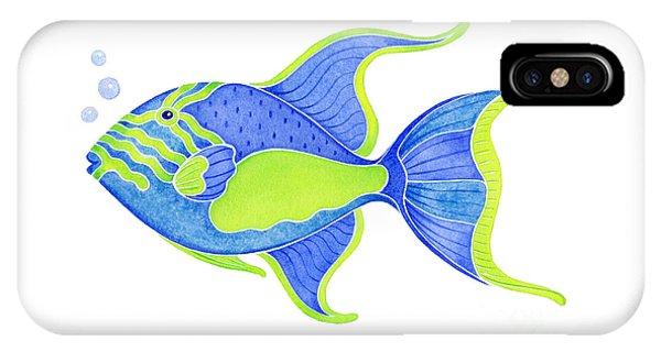 Fish iPhone Case - Tropical Blue Triggerfish by Laura Nikiel