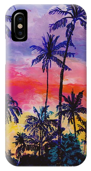 Hawaiian Sunset iPhone Case - Tropical Coconut Trees by Marionette Taboniar