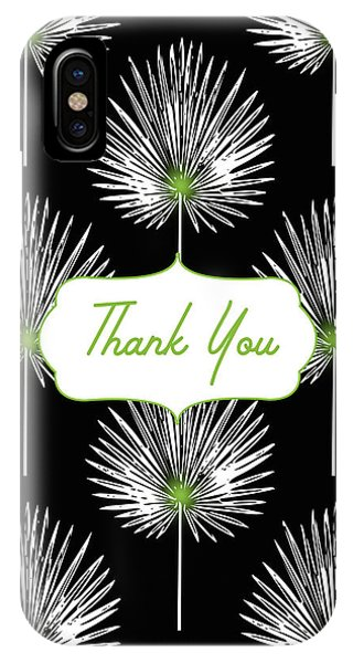 Bar Mitzvah iPhone Case - Tropical Leaf Thank You Black- Art By Linda Woods by Linda Woods