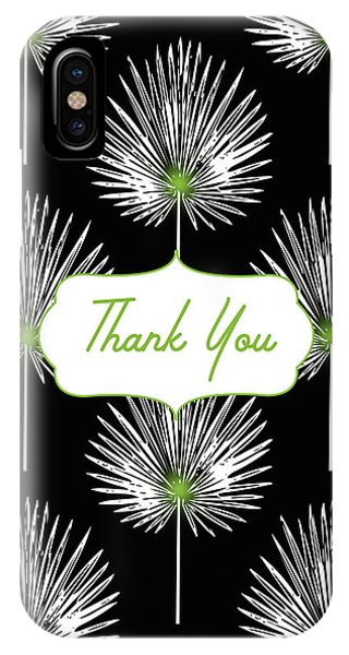 Bar iPhone Case - Tropical Leaf Thank You Black- Art By Linda Woods by Linda Woods