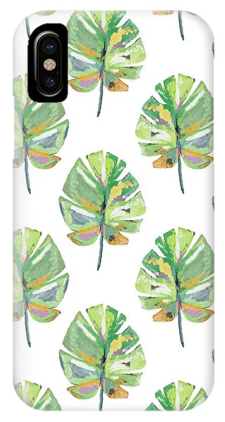 Leaf iPhone Case - Tropical Leaves On White- Art By Linda Woods by Linda Woods