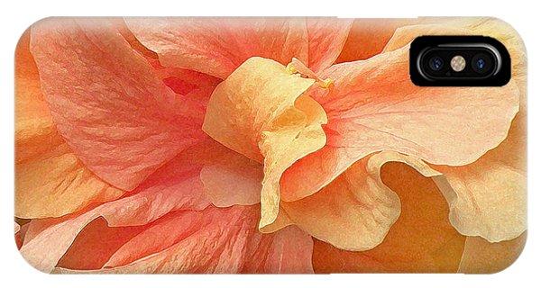 Tropical Peach Hibiscus Flower IPhone Case