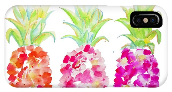 Fruit iPhone Case - Tropical Pink And Gold by Roleen Senic