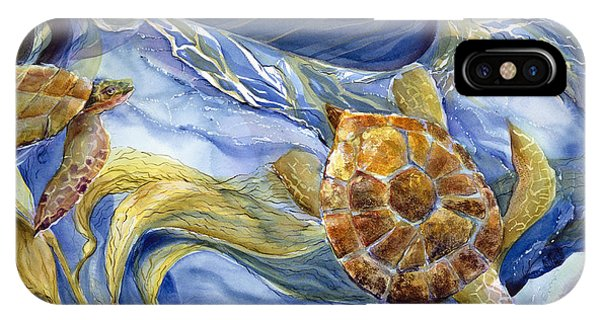 Monterey iPhone Case - Tropical Sea Turtle In Surf by Jen Norton