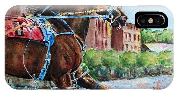 iPhone Case - trotter standardbred Horse at the Little Brown Jug by Maria Reichert