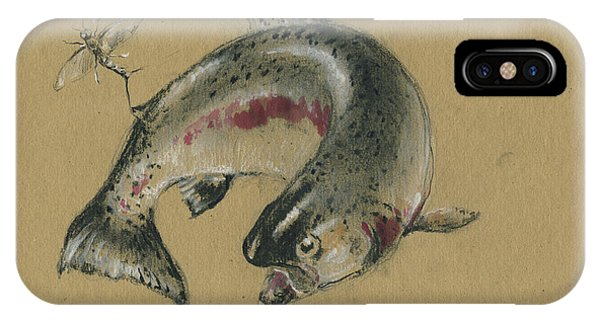 Drawing iPhone Case - Trout Eating by Juan Bosco