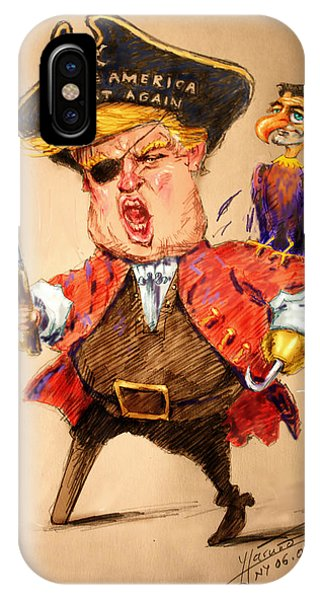 Election iPhone Case - Trump, The Short Fingers Pirate With Ryan, The Bird by Ylli Haruni