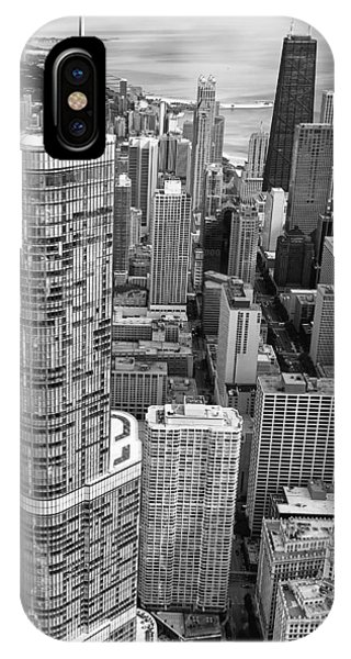 Chicago River iPhone Case - Trump Tower And John Hancock Aerial Black And White by Adam Romanowicz