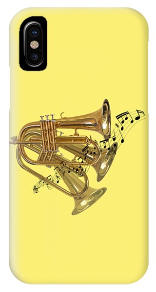 Yellow Trumpet iPhone Case - Trumpet Fanfare by Gill Billington