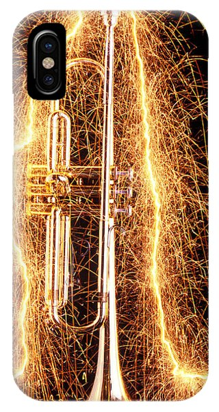 Music iPhone Case - Trumpet Outlined With Sparks by Garry Gay