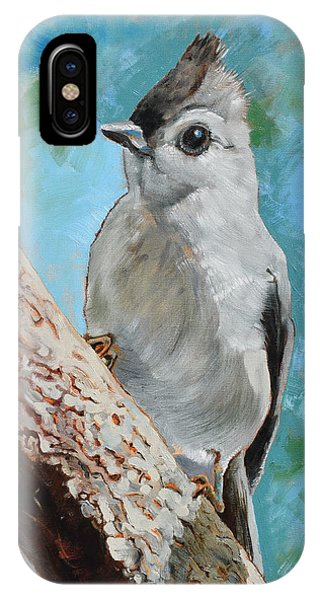 Titmouse iPhone Case - Tufted Titmouse #1 by Amber Foote
