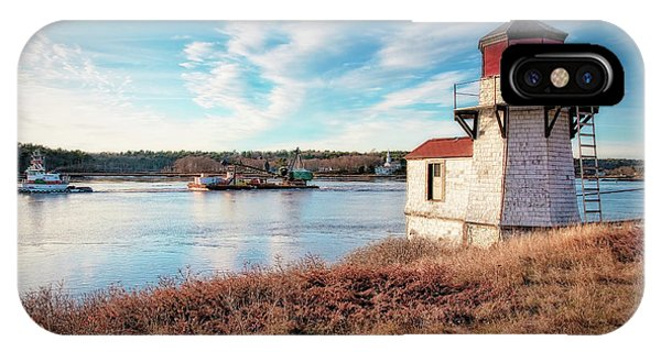 Tugboat, Squirrel Point Lighthouse IPhone Case