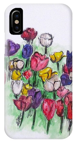 IPhone Case featuring the painting Tulip Bed by Clyde J Kell