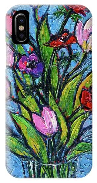 Tulips And Poppies - Impasto Palette Knife Oil Painting IPhone Case